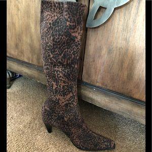 Animal print sock type boot